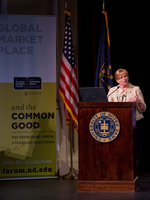 2010 Forum: The Professions and the Common Good; Judge Kathleen Kearney speaks at Washington Hall Oct