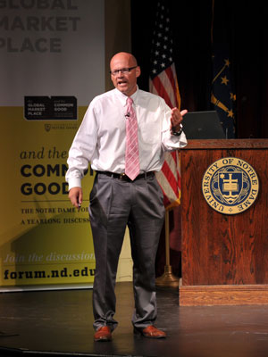 "College of Science Dean Gregory Crawford speaks at the 2010 Notre Dame Forum session ""Technology: Boon or Bane?"" Oct"