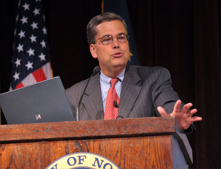 "College of Engineering Dean Peter Kilpatrick speaks at the 2010 Notre Dame Forum session ""Technology: Boon or Bane?"" Oct"