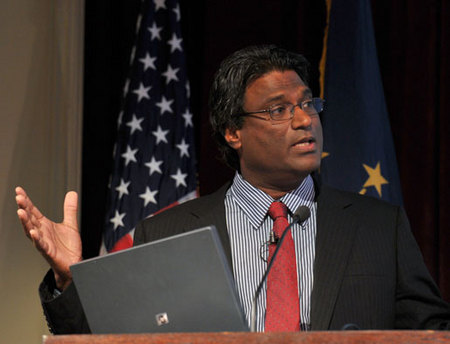 "College of Engineering professor Harindra ""Joe"" Fernando speaks at the 2010 Notre Dame Forum session ""Technology: Boon or Bane?"" Oct"