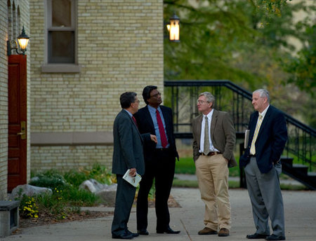 "Panelists (from left to right) Peter Kilpatrick, Joe Fernando, Wolfgang Porod and moderator Bob Alworth chat before the 2010 Notre Dame Forum session ""Technology: Boon or Bane?"" Oct"