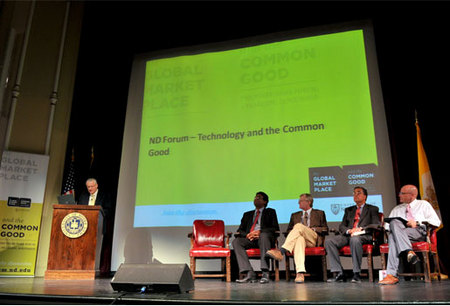 "Moderator Robert L Alworth opens the 2010 Notre Dame Forum session ""Technology: Boon or Bane?"" Oct"
